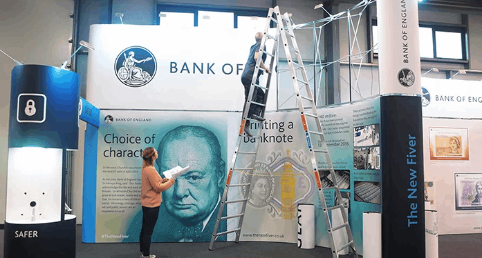 Setting up the Bank of England stand taking our health and safety premises