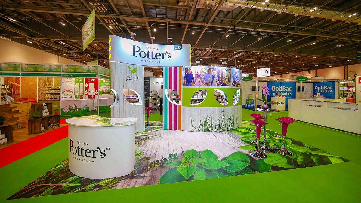Exhibition stand in Munich, Germany for Potters Herbals