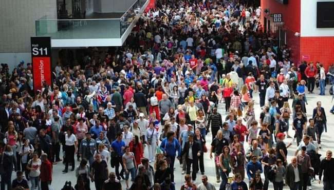 busy trade show crowd