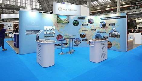blue map of the world exhibition stand